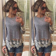 New Women Long Sleeve Shirt Casual Grey Lace Blouse Crew Neck Loose Cotton Top