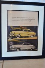 FRAMED 1953 GENERAL MOTORS PRINT AD WITH PICTURES OF BUICK AND CADILLAC