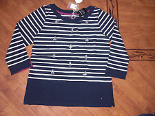 BNWT JOULES MARNIE EMBELLISHED NAVY STRIPE JERSEY TOP SIZE 10 - RRP £49.95