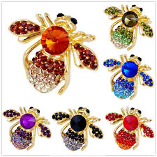 Fashion Charm Cute Gold Plated Crystal Animal Bee Rhinestone Enamel Brooch Pin