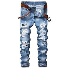 Men's Slim Fit Ripped Jeans Pants Denim Male Distressed Destroyed Joggers Trouse
