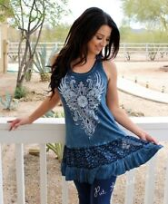 VOCAL CRYSTAL CROSS BLUE LACE MINERAL WASHED TUNIC TANK TOP SHIRT S M L XL USA