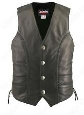 Men's Made in USA Black Naked Leather Buffalo Nickel Motorcycle Vest Braid Trim