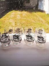 Eight Glass Tumblers With Train Scene In Black And Gold Around Them, Hold 13 Ozs