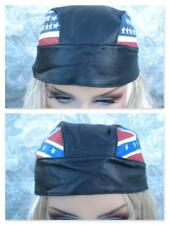 New Motorcycle Head Gear Skull Cap UNISEX Genuine Leather USA Flag or UK Flag