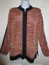 EXCLUSIVELY MISOOK Womens WOVEN MULTICOLOR Zip Front JACKET Blazer S Small