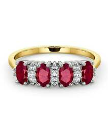 Ruby and Diamond Eternity Ring 18k Yellow Gold Anniversary Band Certificate