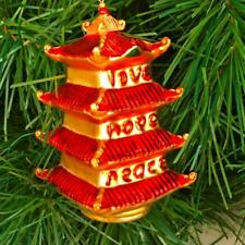 LOVE HOPE PEACE~ASIAN HOME DESIGN ~GLASS CHRISTMAS ORNAMENT~MINT CONDITION..