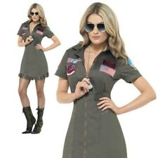 Top Gun Deluxe Female Costume Ladies Aviator Fancy Dress Outfit Sizes S-XL