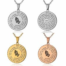 Women Men Stainless Steel God Letters Round Pendant Necklace Jewellery Gift New