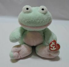 """Ty Pluffies Grins Frog Plush Green Pink 2002 Soft Sewn Eyes 9"""" CT TyLux"""