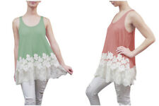 Womens Grass Color Casual Flowy Fit Long Tunic Tank Top Knit With Lace Trim