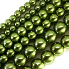 GLASS PEARLS JEWELRY BEADS SILVER GREEN 4MM 6MM 8MM FAUX PEARL BEAD STRAND GP14