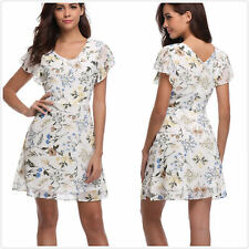 Womens Floral Printed V Neck Butterfly Sleeves Cute A-line Sleeveless Mini Dress
