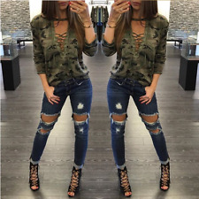 2018 Sexy Women Loose Long Sleeve Blouse Casual Tops V Neck Lace Up T-Shirt Top