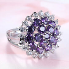 Lady Mystical Round Cut Natural Amethyst White Fire Topaz Silver Ring Size 6-10