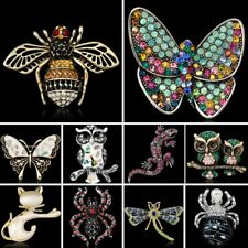 Women Animal Cat Crystal Owl Butterfly Bee Dragonfly Brooch Pin Spring Jewelry