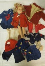 ANTIQUE VINTAGE SHIRLEY TEMPLE 13 INCH DOLL WITH 14 ACCESSORIES OUTFITS CLOTHES