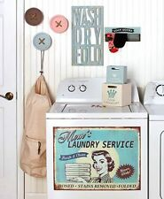 Vintage Inspired Laundry Room Accents MDF Cutout Sign Baskets Wall Hooks Magnet