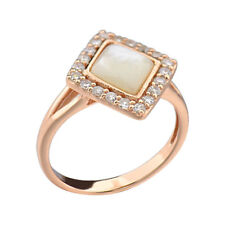 Rose Gold Plate Silver Square Mother of Pearl Halo Women's Engagement Ring