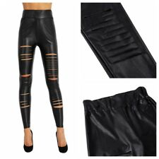AU Women PU Leather Trousers Stretchy Lace Up Pencil Pants Skinny Tight Leggings