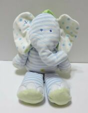 "Just One Year Elephant Plush Musical Crib Pull Blue White Dots Green 12"" Toy"