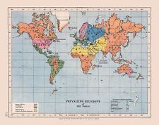 International Map - Prevailing World Religions - Cases Bible - 29.07 x 23