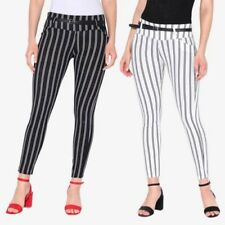 Womens Ladies Striped Skinny Slim Stretch Fitted Pencil Cigarette Trousers Pants