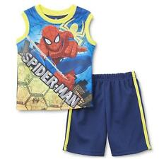 NEW BOYS TODDLER KIDS MARVEL SPIDER-MAN 2 PIECE OUFIT TANK AND SHORTS BLUE 4T