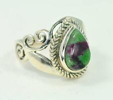 NATURAL RUBY ZOISITE TEARDROP CUT 925 STERLING SILVER RING #0082