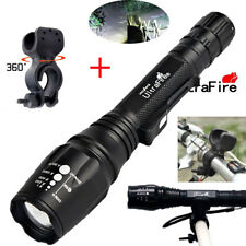 Zoomable Tactical 20000LM 5Modes T6 LED Flashlight Lamp Torch Light+bike clip