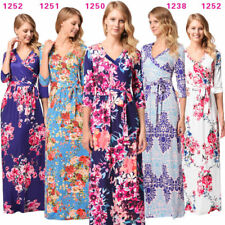 Women Floral Print Ladies Evening Party Long Maxi Dress Long Sleeve Boho Dress