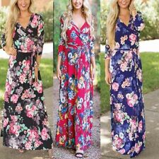 Womens Long Sleeve Boho Dress Evening Party Long Floral Print Maxi Dresses 18