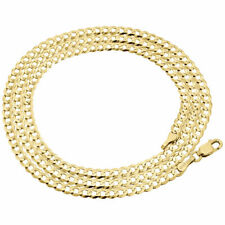 """Real 10K Yellow Gold 3.0MM Solid Plain Cuban Link Style Chain Necklace 16-28"""""""
