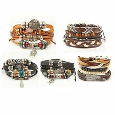 Vintage Punk Multilayer Leather Charm Beads Bracelet Bangle Mens Jewelry Gift