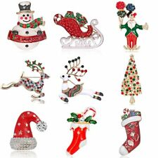 Fashion Christmas Crystal Snowman Deer Brooches Pins Women Jewelry Holiday Xmas