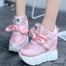 Womens Lace Up Leather Sneakers Platform Wedge Heel Faux Athletic Shoes 2018