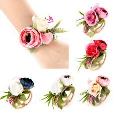 Wedding Party Wrist Corsage Bracelet Bridal Bridesmaid Hand Wrist Flower Fashion