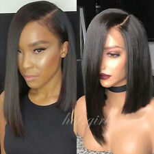 Pre Plucked Virgin Human Hair Bob Full Wigs Glueless Lace Front Wig Black Hg19