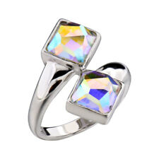Sterling Silver Multi-Colored Crystal Bypass Women Wedding Engagement Ring