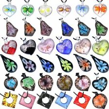Charm Glass Murano Lampwork Pendant Necklace Flowers Women Jewelry Party Gift