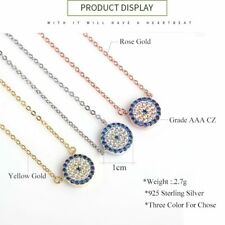 925 Sterling Silver Jewelry Necklace Cubic Zirconia Round Evil Eye Necklace Gold