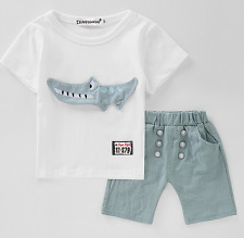 2PCS Toddler  Kids Baby Boys Short Sleeve T-Shirt Tops + shorts Clothes Outfits