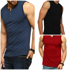 Mens Sleeveless Henley Tank Tops Slim Fit Button Down Athletic Muscle T-Shirts