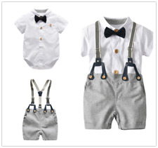 2PCS Newborn Baby Boy Gentleman Romper Tops +Straps Shorts Clothes Outfits Set