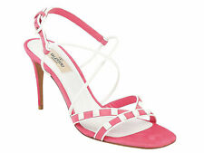 Valentino Women's high stiletto heels ankle strap sandals in pink suede leather