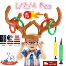 Inflatable Reindeer Antler Hat Ring Toss Game Xmas Home Office Party Favors US