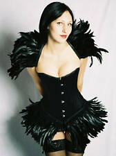 SATIN CORSET-FEATHER SKIRT-IN STOCK-EVENING/GOTH-HERESY