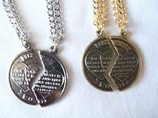Mizpah Sweetheart Friend Partner Coin Necklace 2 Pc Set