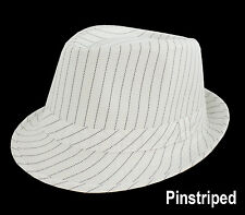 1 FEDORA TRILBY DANCE  HAT Pin Striped Pinstripe White